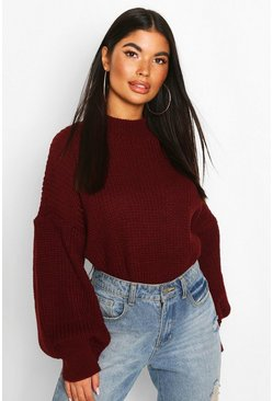 Petite Balloon Sleeve Cropped Jumper, Berry
