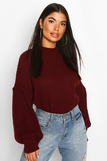 Womens Berry Petite Balloon Sleeve Cropped Jumper
