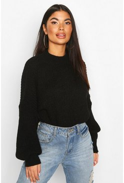 Petite Balloon Sleeve Cropped Jumper, Black