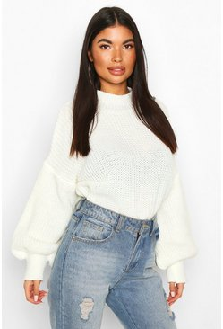 Cream Petite Balloon Sleeve Cropped Jumper