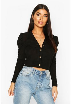 Black Petite Volume Sleeve Rib Cardigan