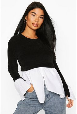 Womens Black Petite Cheniell 2 In 1 Layered Shirt Jumper