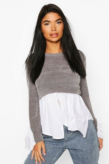 Grey Petite Cheniell 2 In 1 Layered Shirt Jumper