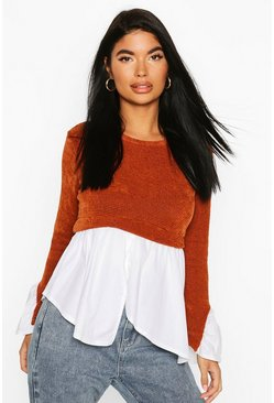 Rust Petite Chenille 2 In 1 Layered Shirt Jumper