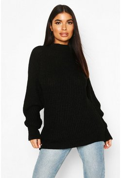 Womens Black Petite Chunky High Neck Oversize Jumper