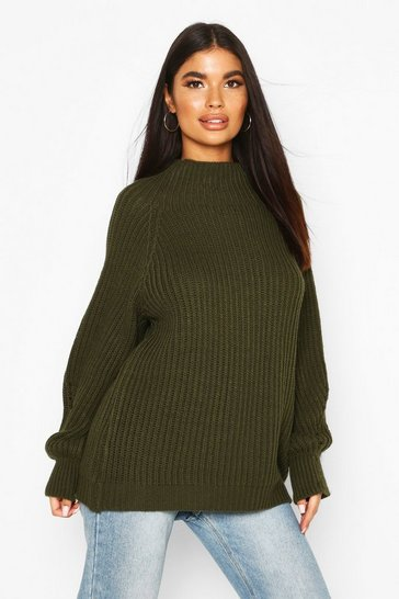 Womens Khaki Petite Chunky High Neck Oversize Jumper