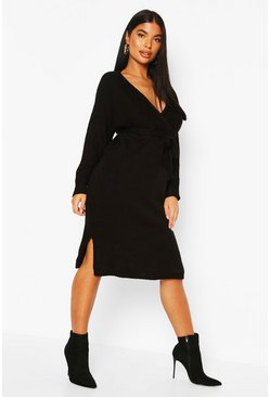 Petite Knitted Belted Wrap Dress, Black