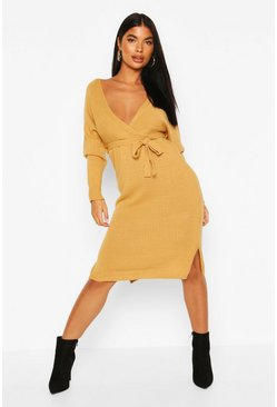 Camel Petite Knitted Belted Wrap Dress