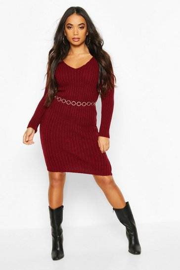 Womens Berry Petite V Neck Knit Midi Dress