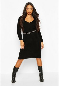 Petite V Neck Knit Midi Dress, Black