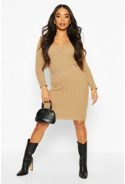 Camel Petite V Neck Knit Midi Dress