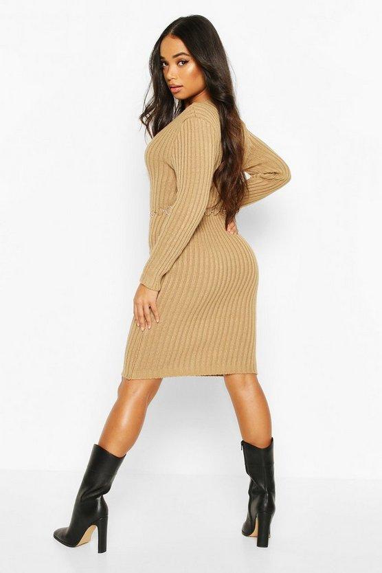 Petite V Neck Knit Midi Dress