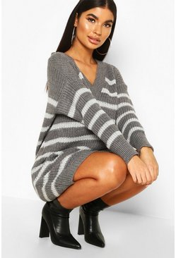 Womens Grey Petite Chunky Knit Stripe V Neck Jumnper Dress