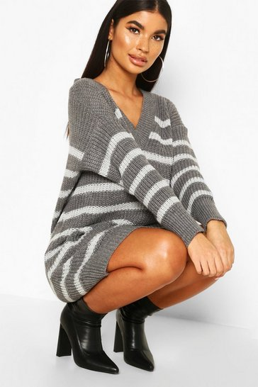 Grey Petite Chunky Knit Stripe V Neck Jumnper Dress