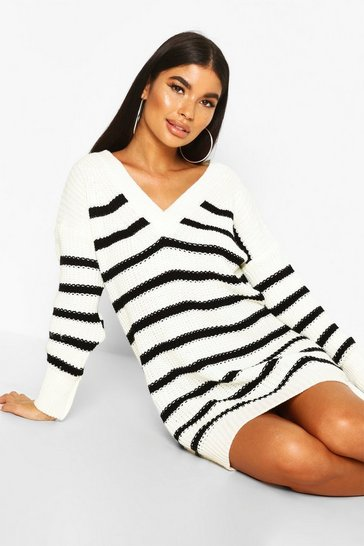 Womens Ivory Petite Chunky Knit Stripe V Neck Jumnper Dress