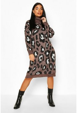 Womens Brown Petite Roll Neck Leopard Knit Dress