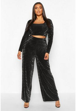 Silver Plus Shimmer Glitter Stripe Crop And Trouser Co-Ord