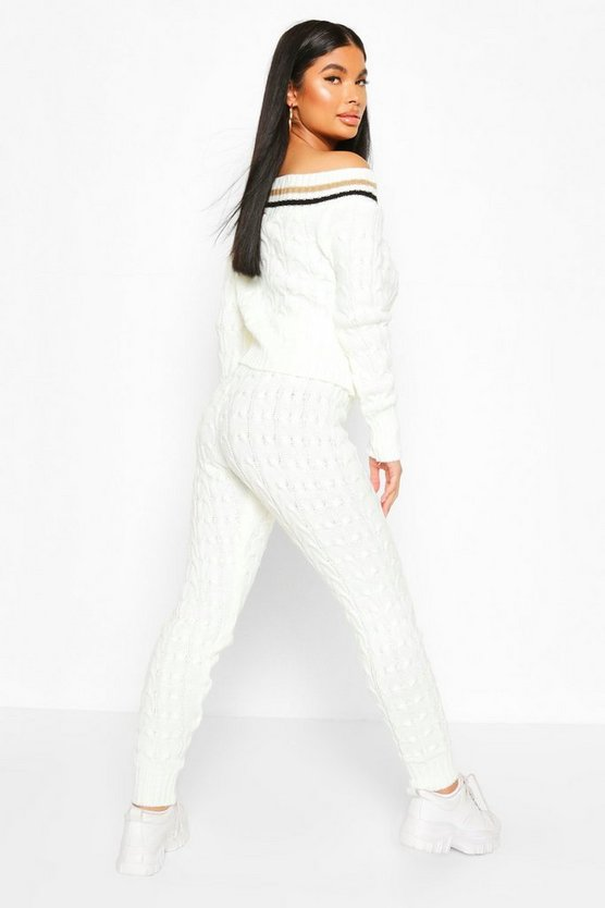 Petite Bardot Cable Knit Top & Legging Co Ord