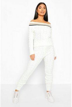 Petite Bardot Cable Knit Top & Legging Co Ord, Cream