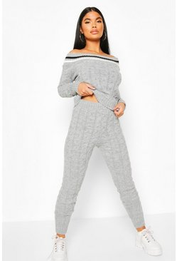 Grey Petite Bardot Cable Knit Top & Legging Co Ord