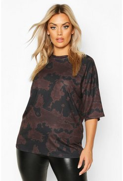 Plus Tie Dye Oversized T-Shirt, Brown, Donna