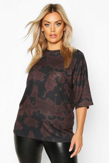 Womens Brown Plus Tie Dye Oversized T-Shirt