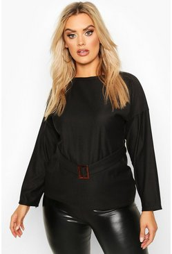 Plus Self Belted Buckle Sweat, Black, FEMMES