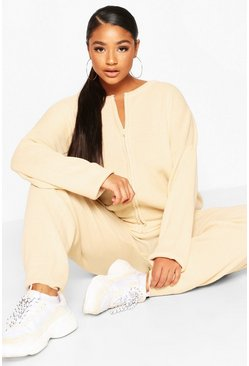 Plus Zip Through Knitted Lounge Set, Ecru