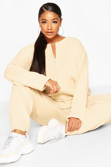 Ecru Plus Zip Through Knitted Lounge Set