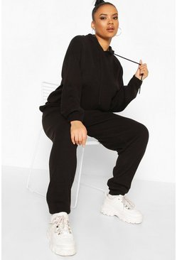 Black Plus Knitted Hoodie Lounge Set