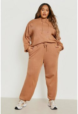Plus Knitted Hoodie Lounge Set, Toffee