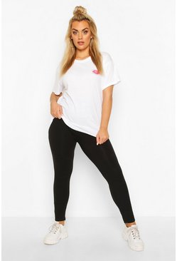 Black Plus Basic Cotton MIx Legging