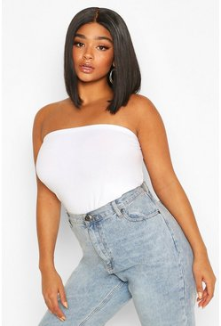 White Plus Basic Bandeau Tube Top