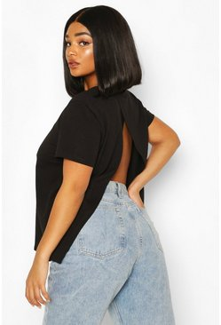 Plus Open Split Back T-Shirt, Black