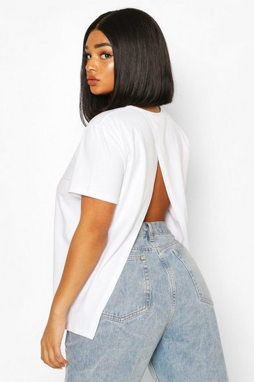 White Plus Open Split Back T-Shirt