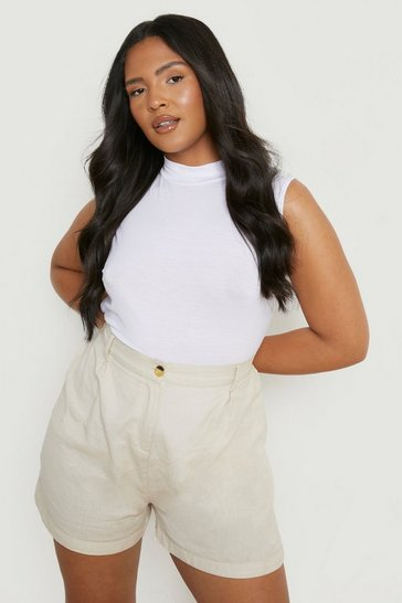 White Plus Basic High Neck Sleeveless Top