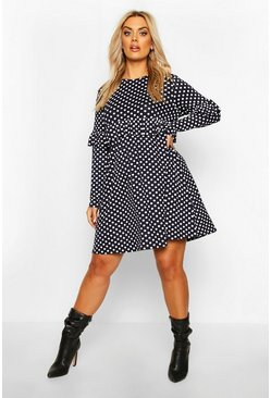 Navy Plus Polka Dot Ruffle Smock Dress
