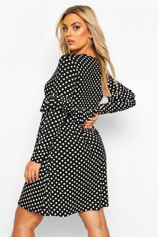Polka Dot Ruffle Smock Dress