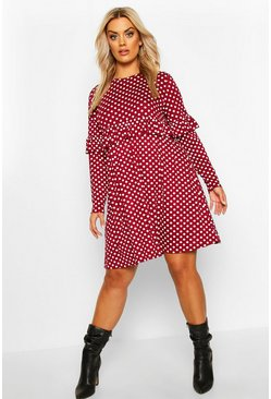 Womens Wine Plus Polka Dot Ruffle Smock Dress