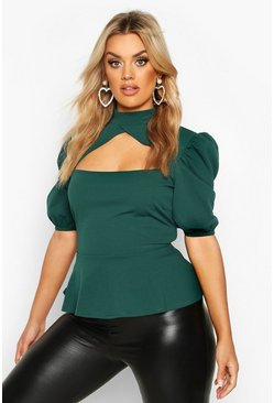 Bottle green Plus Choker Cut Out Puff Sleeve Peplum Top