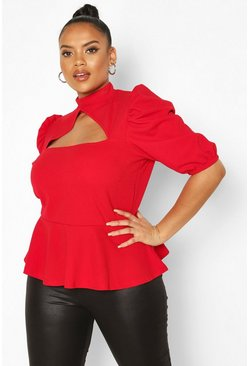 Red Plus Choker Cut Out Puff Sleeve Peplum Top