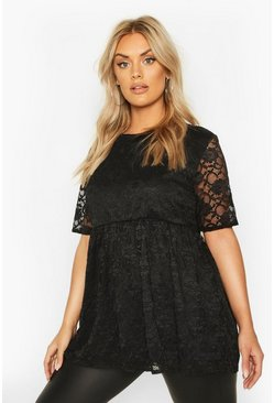 Womens Black Plus Lace Cap Sleeve Smock Top