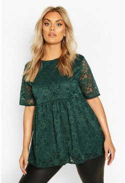 Forest Plus Lace Cap Sleeve Smock Top