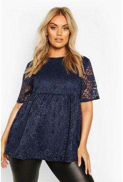 Navy Plus Lace Cap Sleeve Smock Top