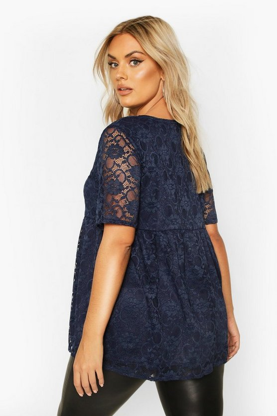 Plus Lace Cap Sleeve Smock Top