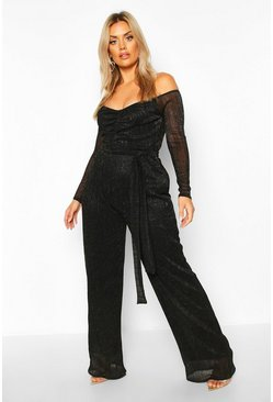Womens Black Plus Metallic Plisse Off The Shoulder Jumpsuit