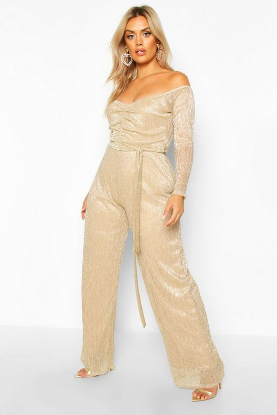 Gold Plus Metallic Plisse Off The Shoulder Jumpsuit
