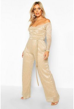 Womens Gold Plus Metallic Plisse Off The Shoulder Jumpsuit