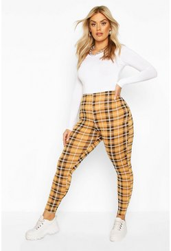 Plus Check Jersey Leggings, Mustard, Donna