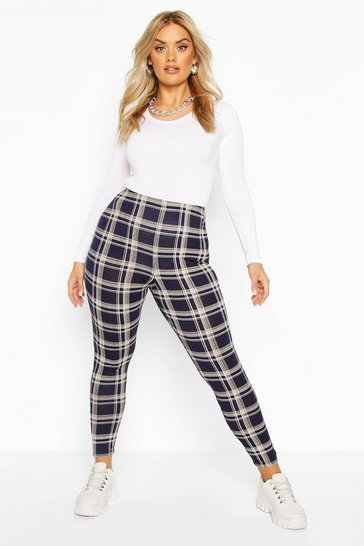 Womens Navy Plus Check Jersey Leggings